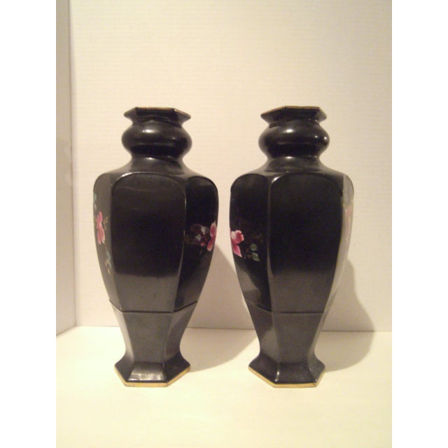 Black Hand Painted Vases - A Pair - Image 5 of 9
