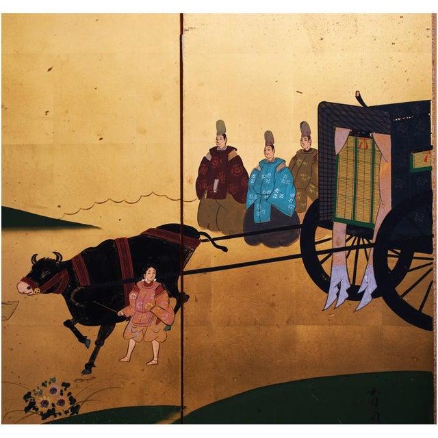 """Green Shōwa Era """"The Tale of Genji"""" Gold-Leaf Japanese Byobu Screen For Sale - Image 8 of 13"""