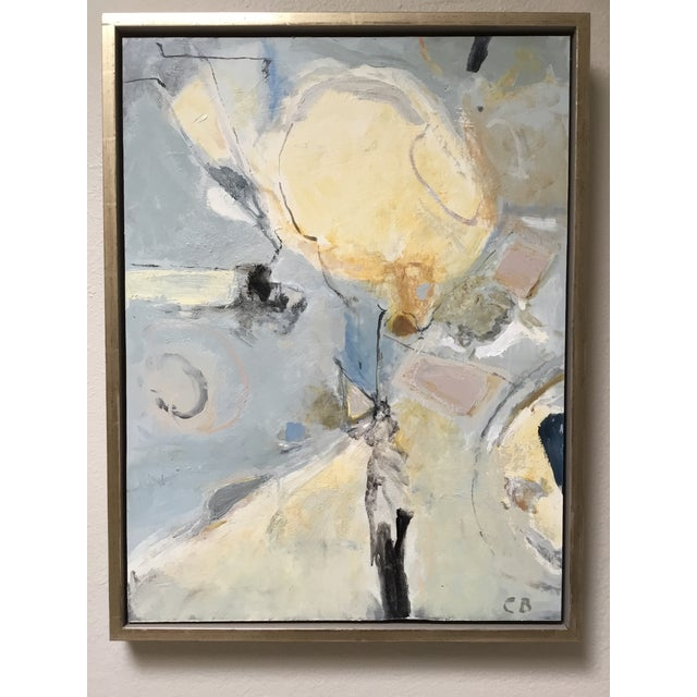 Abstract Painting in Grey, Blue, and Ivory - Image 6 of 8