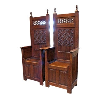 Late 19th Century Antique French Gothic Throne Chairs- A Pair For Sale