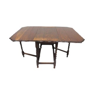 Antique English Oak Barley Twist Scalloped Edge Gate Leg Drop Leaf Table For Sale
