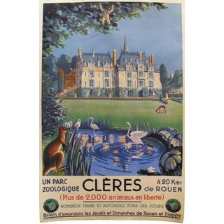 Rare French 1930s Art Deco Travel Poster, Cleres Zoo For Sale