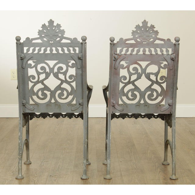 Late 19th Century Antique Cast Iron Pair of Garden Cemetery Armchairs, Fred Gensel & Co. For Sale - Image 5 of 13