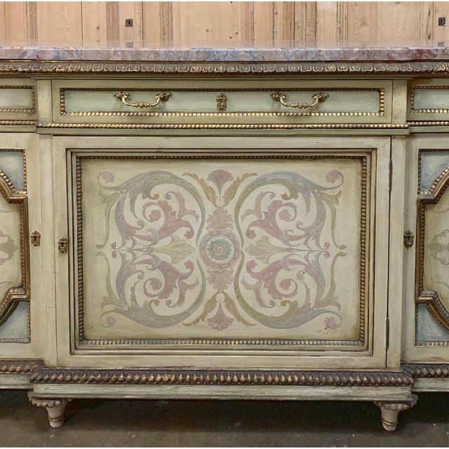 Antique Italian Marble Top Painted Buffet For Sale - Image 9 of 13