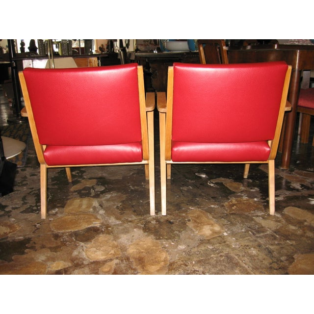 German Red Patent Leather Chairs - Pair - Image 3 of 5