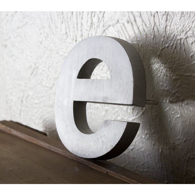 Modern Industrial Silver Salvaged Letter E For Sale - Image 3 of 6