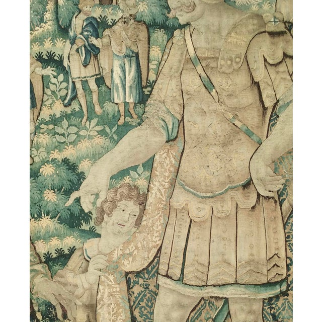 Figurative Antique Flemish Tapestry of Soldier Back From a Battle For Sale - Image 3 of 12
