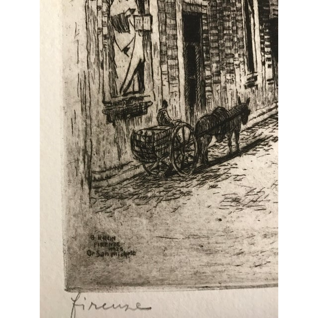 1925 Vintage Florence Italy Street Scene Etching - Image 5 of 5