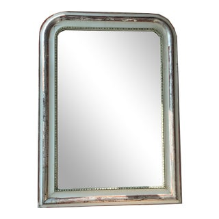 French Louis Philippe Cream and Silver Leaf Mirror For Sale