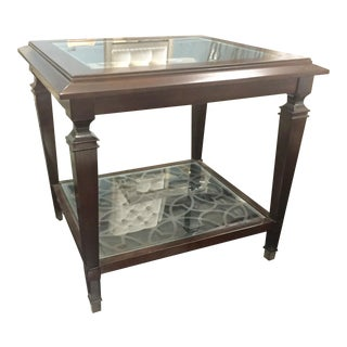 Traditional Side Table With Glass Top For Sale