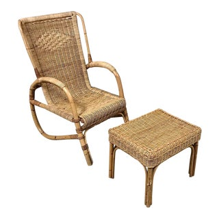 Mid-Century Rattan Lounge Chair and Footstool by Huis Kenninck of Gent For Sale