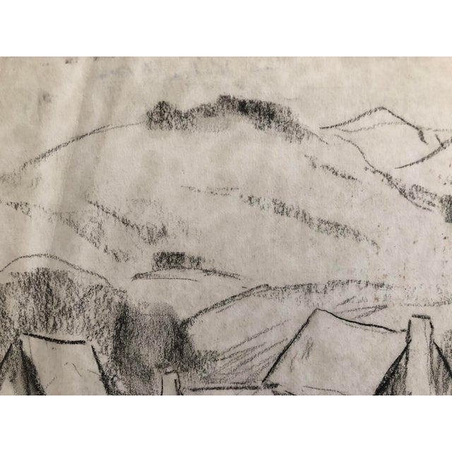 """American 1930s Vintage Eliot Clark """"Blue Ridge Farm"""" American Impressionist Inspired Drawing For Sale - Image 3 of 7"""