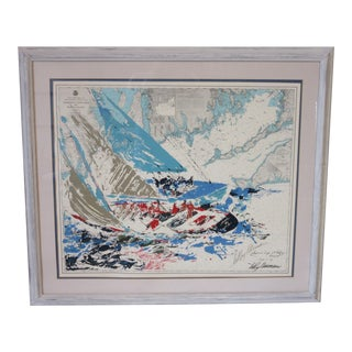 LeRoy Neiman America's Cup Artist Signed Map Print For Sale