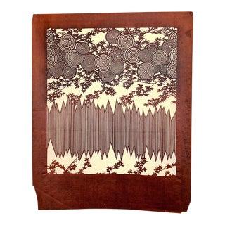 Antique Japanese Kimono Fabric Stencil Wood Block Print Katagami For Sale