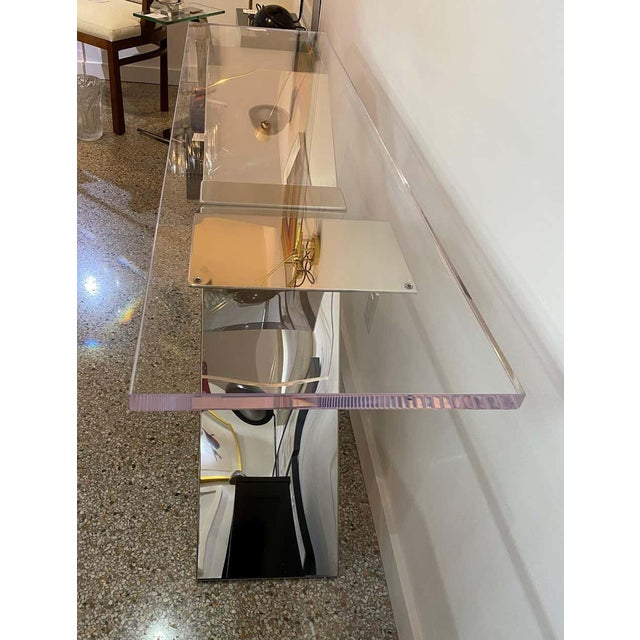 Modern X-Form Console Table in Stainless Steel and Lucite For Sale - Image 3 of 13