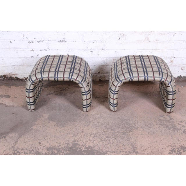 Pace Collection Leon Rosen for Pace Collection Mid-Century Modern Waterfall Stools or Ottomans, Pair For Sale - Image 4 of 10