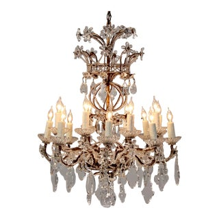 Venetian Vintage Crystal Beaded Chandelier For Sale