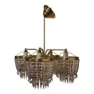 Mid-Century Crystal & Brass Chandelier