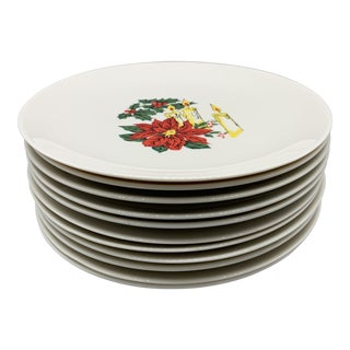 Vintage 1950's Christmas Dinner Plates - Set of 11 For Sale