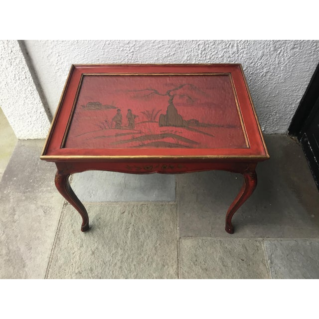 1950s Chinoiserie Red Hand Painted Coffee Table For Sale - Image 9 of 13