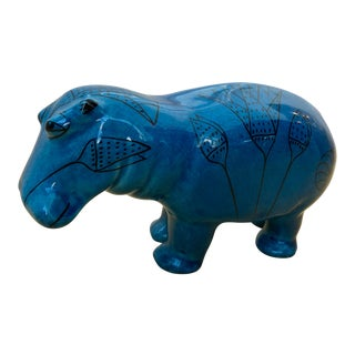 Vintage Blue Ceramic Hippo Figurine For Sale