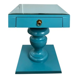 Mid-Century Modern Turquoise Blue Pedestal Nightstand End Table For Sale