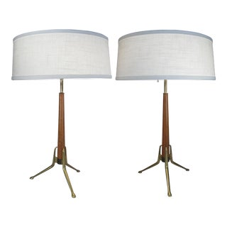 Brass and Walnut Lamps by Gerald Thurston for Lightolier - a Pair For Sale