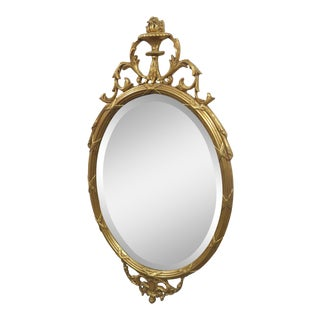 Late 20th C. Vintage Friedman Brothers Oval Gold Gilt Mirror For Sale