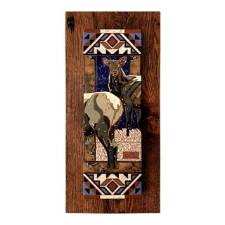 "Art Deco ""Native Species"" Elk Tile Wall Hanging For Sale"