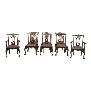 1990s Stickley Chippendale Mahogany Dining Room Chairs - Set of 8 For Sale