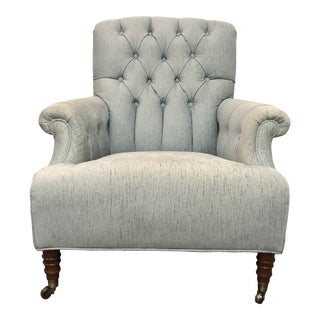 Custom Light Blue Tufted Upholstered Arm Chair For Sale