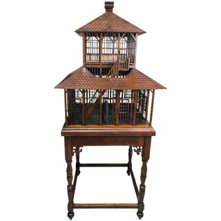 Carved Mahogany Grand Antebellum Style Bird House on Stand For Sale
