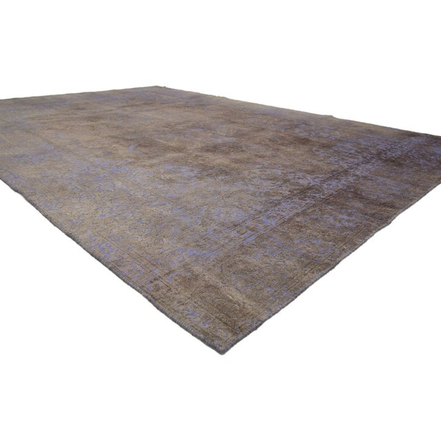 60775 Distressed Vintage Turkish Rug with Romantic French Modern Industrial Style 07'08 x 11'02. Balancing a timeless...