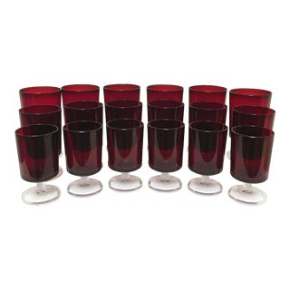 French Verrerie d'Arques Luminarc Ruby Red Glasses - Set of 18