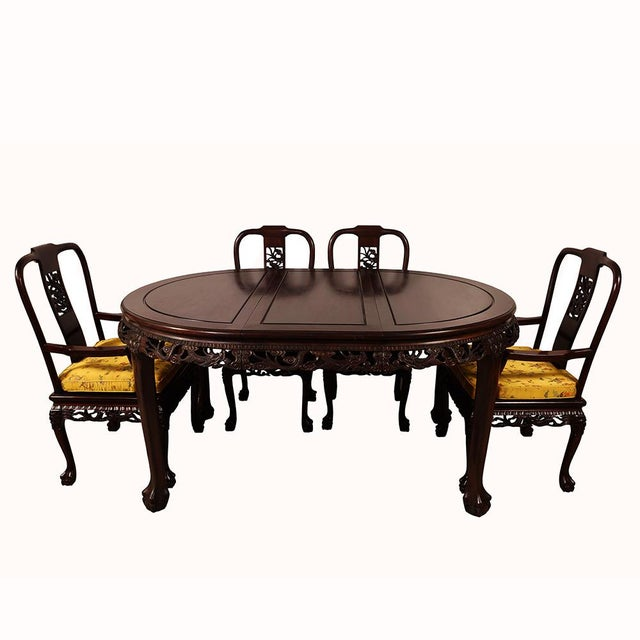 20th Century Chinese Carved Rosewood Dragon Dining Set For Sale - Image 10 of 13