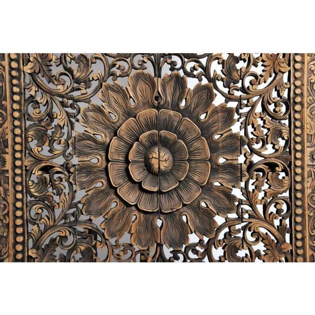 Southeast Asian Carved Teak Flower Panel For Sale - Image 10 of 13