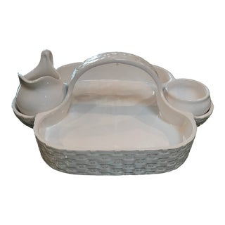 20th Century Americana White Ceramic Strawberry Basket With Cream and Sugar Set - 3 Pieces For Sale