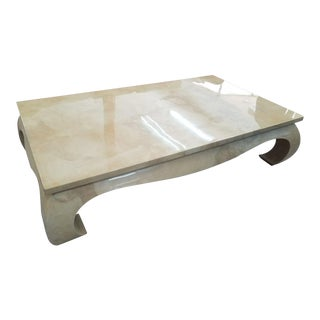 1970's Ming Style Karl Springer Goat Skin Coffee Table For Sale