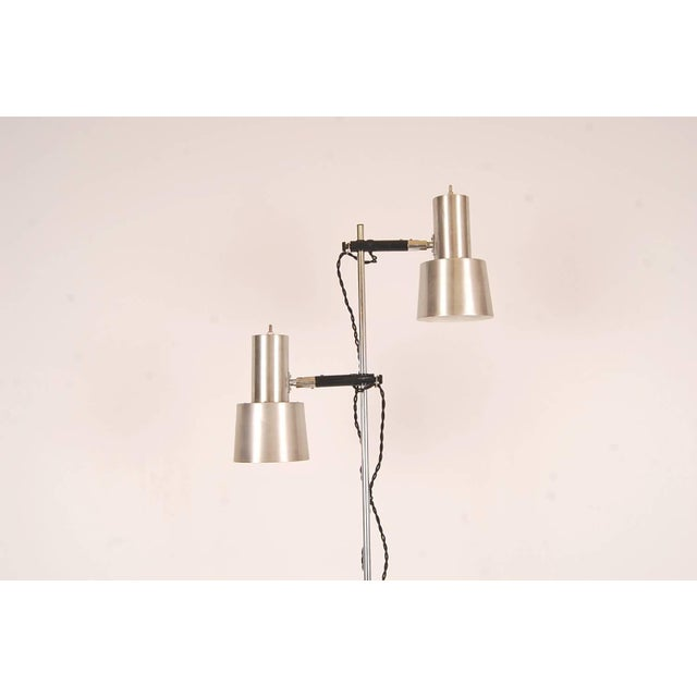 Mid-Century Modern Floor Lamp in Stainless Steel and Teak by Fog & Mørup For Sale - Image 3 of 6