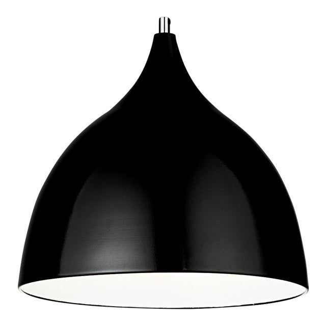 Matte Black and White Chrome Pendant Light For Sale
