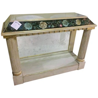 Fine Églomisé Pier Table With Distressed Glass Top and Sides For Sale