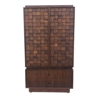 Tall Mid-Century Brutalist Armoire or Dresser For Sale