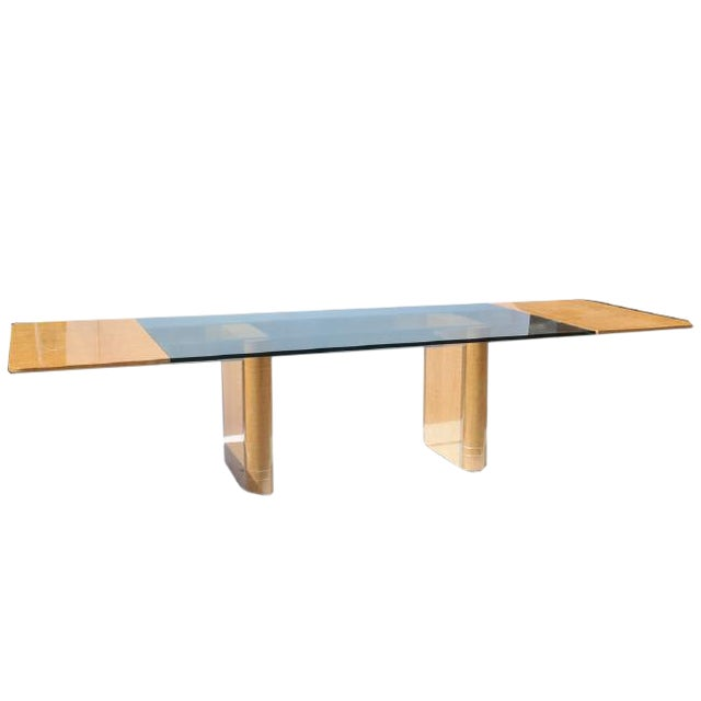 Handmade Drop Leaf Glass Top Dining Table by Vladamir Kagan for Kagan Designs For Sale