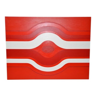 Vintage Red & White Op-Art Painting by Charles Hersey C.1970s