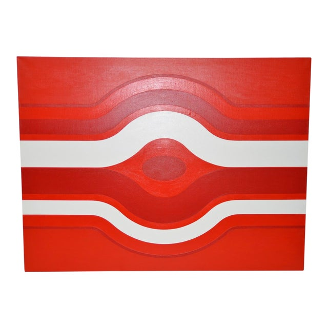 Vintage Red & White Op-Art Painting by Charles Hersey C.1970s For Sale