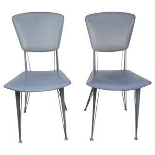 Vintage Italian Industrial Metal & Leather Chairs- A Pair For Sale