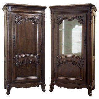 Pair 19th Century French Bonnetiere & Vitrine For Sale