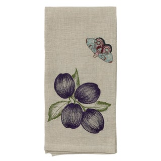Cottage Plums & Butterfly Tea Towel For Sale