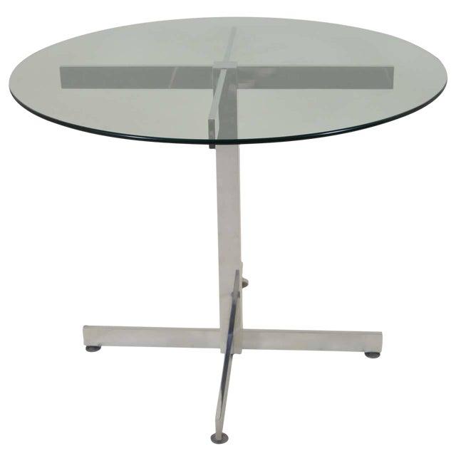 Polished Aluminum Modernist Table For Sale