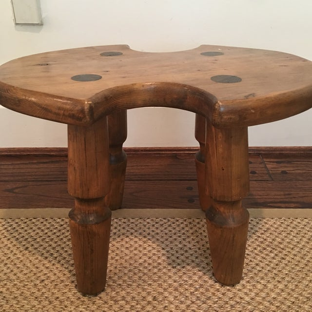 Rustic Americana Wooden Stool For Sale - Image 10 of 11